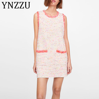 YNZZU Elegant Frayed Edge Tweed Pink Women Dress New Summer Sleeveless Pockets Loose Knitted Female Mini Dress Vestidos AD248