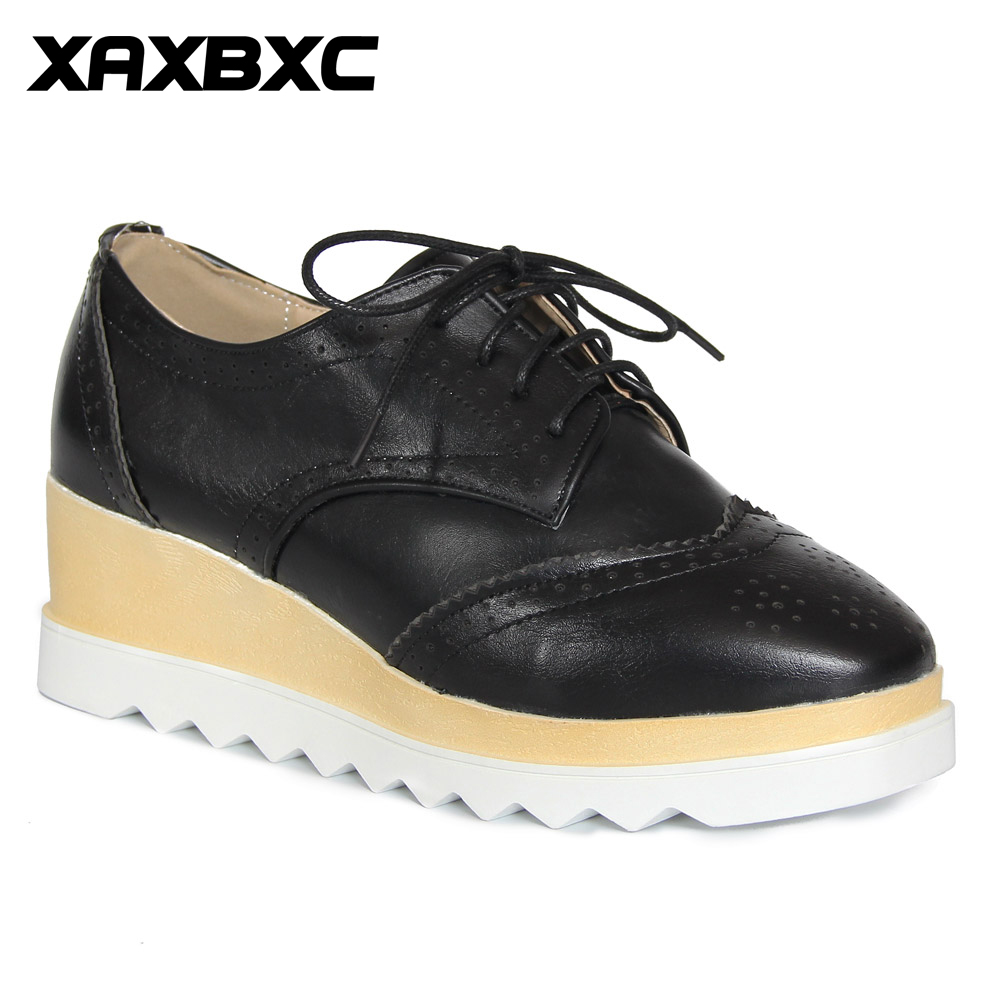 XAXBXC Retro British Style Leather Brogues Oxfords Platform Shoes High Heels Women Shoes Wedges Handmade Casual Lady Shoes bling patent leather oxfords 2017 wedges gold silver platform shoes woman casual creepers pink high heels high quality hds59