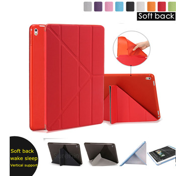 Good tpu silicone soft back leather protect smart case for apple ipad pro 9.7 2 3 4 cover case slim magnetic turn off thin skin image