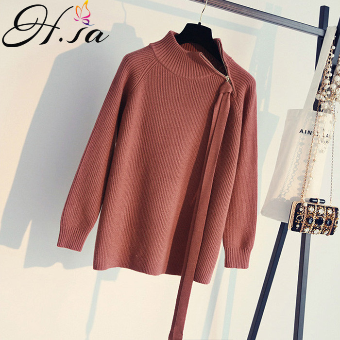 H.SA 2017 Winter Bow waist knitting pullover zip lace up autumn winter sweater women tops Casual jumper pull femme hiver