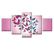 5 Panel Modern Butterfly series Printed Poster Painting Picture Canvas Art for Living Room