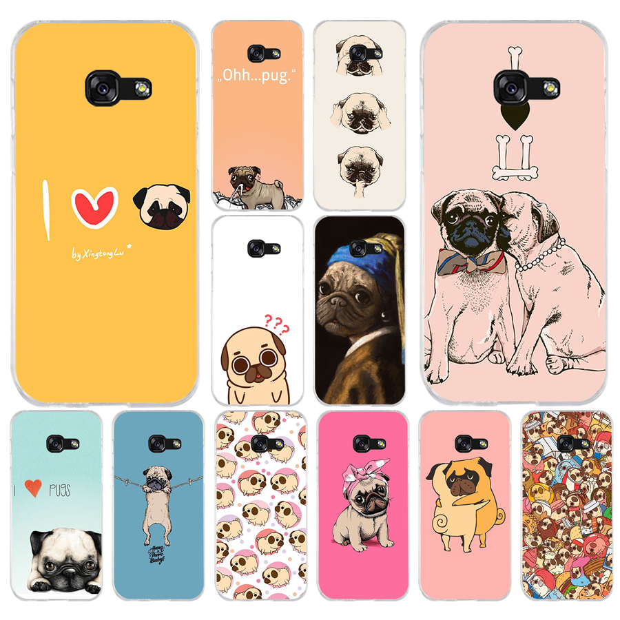 124A Pug <font><b>Dog</b></font> Soft Silicone Tpu Cover <font><b>phone</b></font> <font><b>Case</b></font> for <font><b>Samsung</b></font> <font><b>galaxy</b></font> <font><b>a3</b></font> a5 2016 <font><b>2017</b></font> a6 A8 2018 image