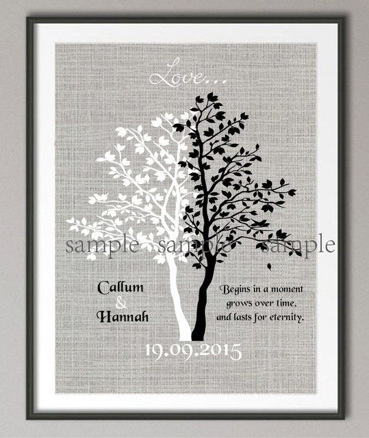 Couples Wedding Anniversary Quote Canvas Painting Family Tree Wall Art  Poster Print Pictures Frameless Wall Decor Wedding Gifts