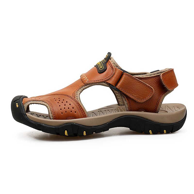 Plus size Men Sandals Genuine Leather Summer shoes Men Casual Shoes Outdoor Beach Sandals Flip Flops Men Slippers in Men 39 s Sandals from Shoes