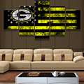 5 Panel/Set Abstract Art Deco Hand Painted Picture Painting Green Bay Packers Flag Logo On Canvas Sport Painting Unique Wall Art