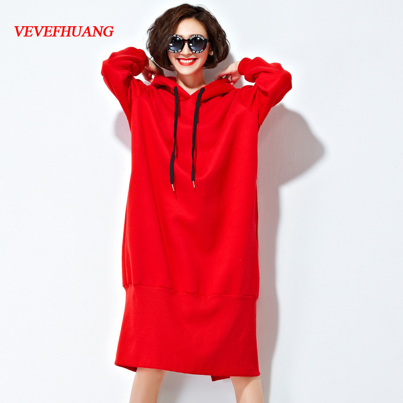 VEVEFHUANG Autumn Winter New Women's Long Sleeve Hooded Korean Loose Casual Warm Hoodies Sweatshirt Red/Black Large Plus Size