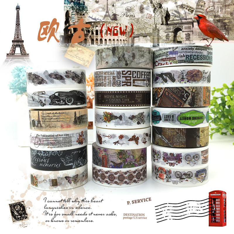 The Memory of the European Washi Tape Set England Paris Travel Castle/Deco Masking Tape /Planner Sticker/ Scrapbook Tape 19PCS new design retro style ship car travel old style vintage diy decorative washi tape diary deco masking tape scrapbooking stickers