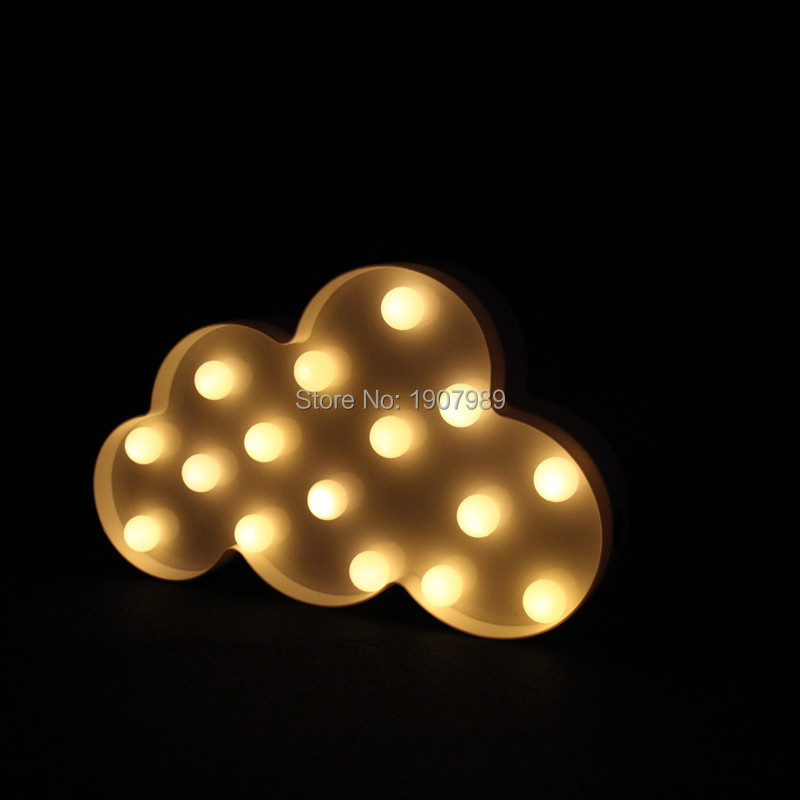 Creative LED 3D Cloud Night Lamp Battery Powered White Cloud Letter - Night Lights - Photo 3