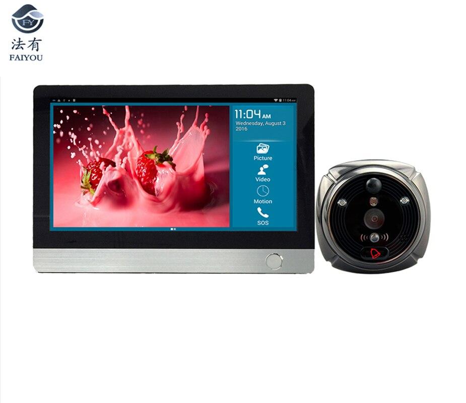 IHome4 WiFi mirilla Visor de puerta y vídeo timbre IP 7 pulgadas pantalla IR PIR puerta HD Cámara detección de movimiento timbre de puerta
