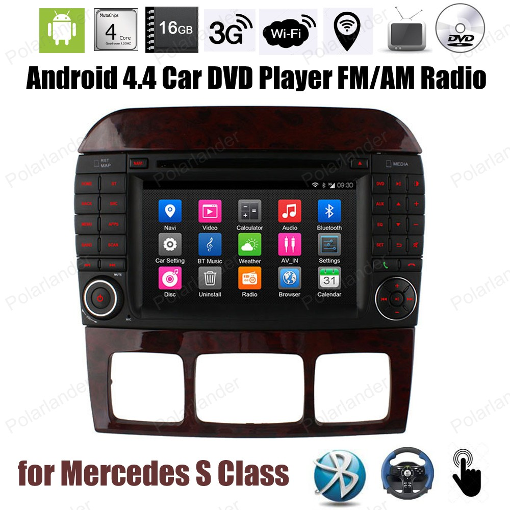 7 inch Android4.4 Quad Core Car DVD touch screen FM AM radio stereo Support DTV TPMS GPS DVR 3G WiFi BT For M/ercedes S Class