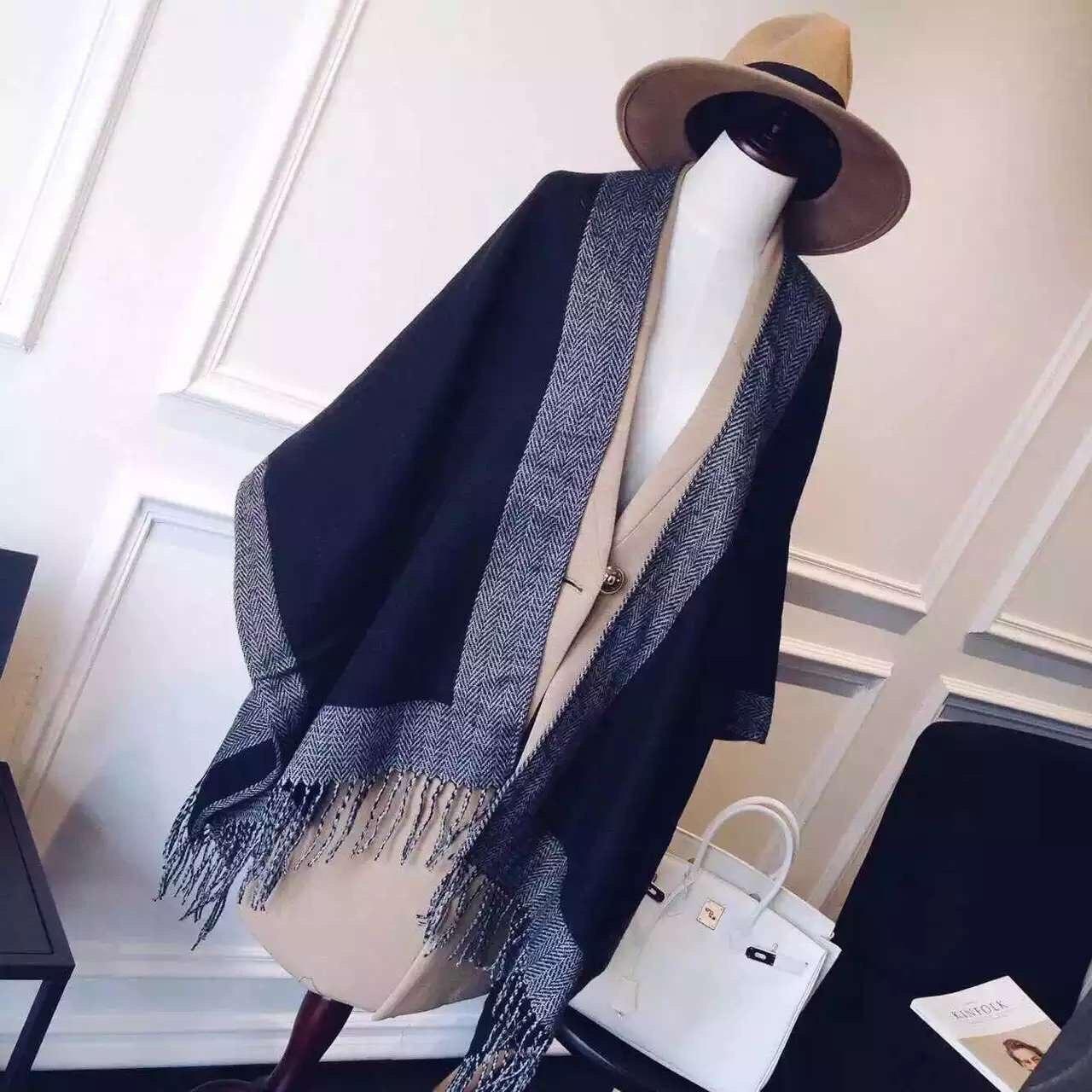 Womens Blanket Scrafs Double-Side Pashmina Fringe Cardigan Sweater Winter Hooded Outwear Wool Blend Cloak Poncho Cape