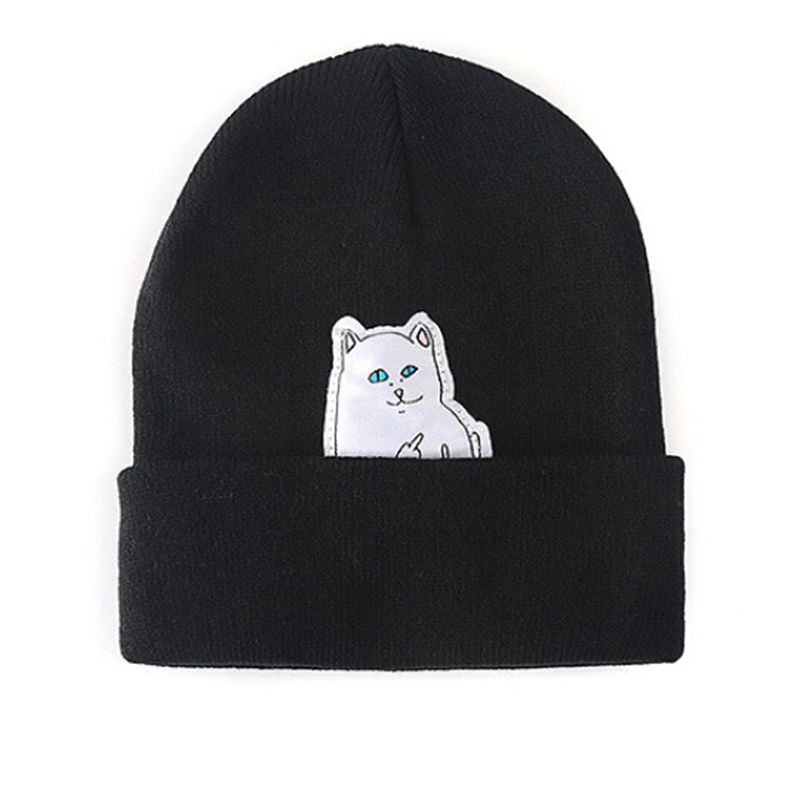 Women Knitted Thick Beanie Cat Print Hat Winter Bonnet Hats For Women Caps Warm Winter Hat Female Cotton Skullies Beanies