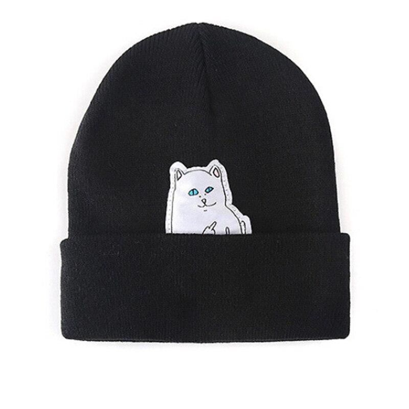 Women Knitted Thick   Beanie   Cat print Hat Winter bonnet Hats For Women Caps Warm Winter Hat Female Cotton   Skullies     Beanies