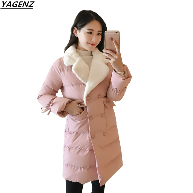 2017 Women Winter Coat Jacket Warm Down Cotton   Parkas   Long Sleeve Female Overcoat Thick Coat Women YAGENZ A139