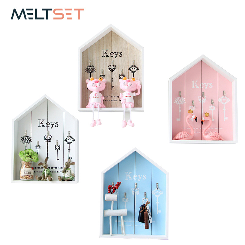 Wall-mount Handmade Wooden Key Hook Home Wall Decoration Multi-purpose Wall Hanging Hook For Keys Ring Storage Holder Key Hanger