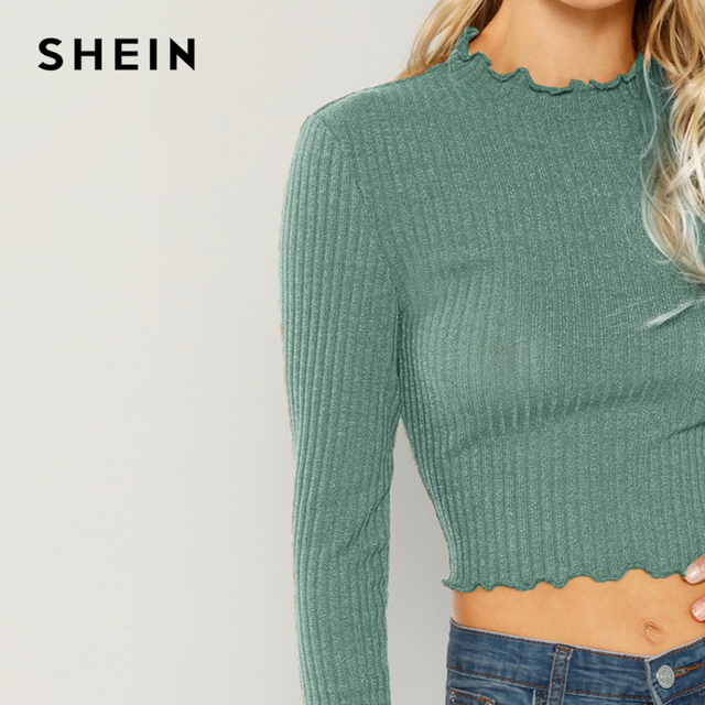 SHEIN Highstreet Green Lettuce Trim  Round Neck Solid Pullovers Crop Top 2018 Autumn Casual Women Modern Lady Tshirt Top 4