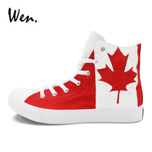 Wen Original Design Canada Flag Hand Painted Canvas Shoes Man Woman's Sports Sneakers High Top Skateboarding Shoes Maple Leaf(China)