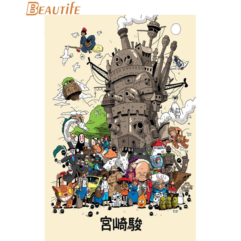 Howls Moving Castle Art Cloth Silk Fabric Poster Home