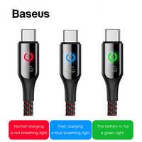 Baseus Smart cambio respirar iluminación USB tipo C Cable compatible con Carga rápida 3A para Samsung galaxy note 9 s9 plus tipo C