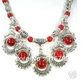 free shipping ******* Rare Tibet Tribal jewelry Silver Red Coral Necklace