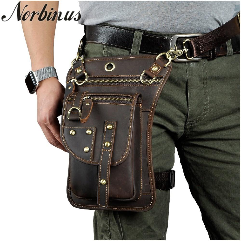Norbinus Leather Waist Leg Bag for Men Genuine Leather Fanny Packs Motorcycle Belt Bag Pouch Male Shoulder Messenger Hook Bag