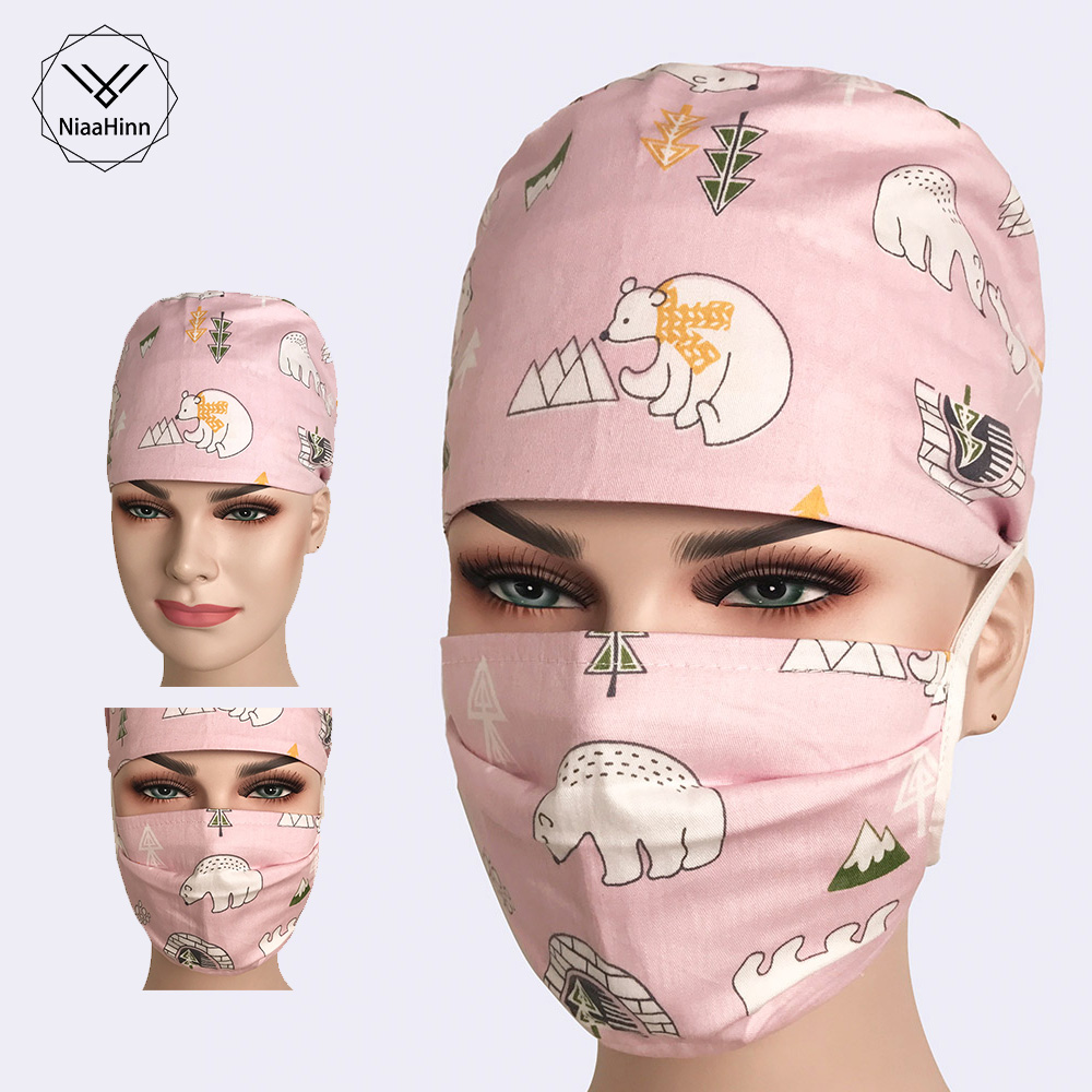 Beautician Dentist Veterinarian Medical Cap Surgical Scrub Caps For Women Doctor Nurse Dentist Hat Pet Doctor Hat With Masks