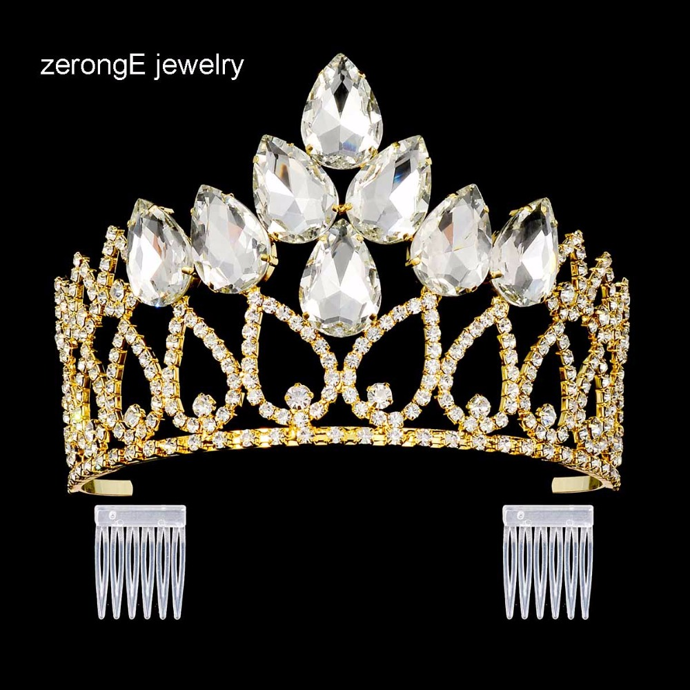 ZerongE jewelry gold wedding tiara crown .large pageant prom queen tiara crown.lady hair jewelry tiara crown with crystal