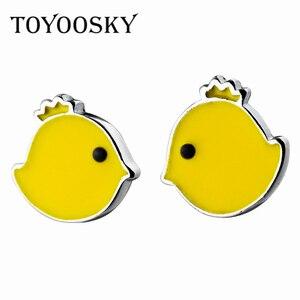 TOYOOSKY 100% S925 Sterling Silver Yellow Chick Earrings Animal Jewelry Silver Chook Chicken Earrings for Women Baby Princess