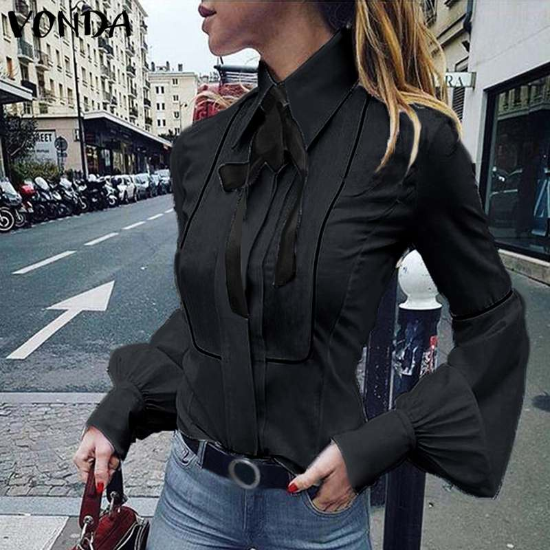 VONDA Ladies Office Shirt 2019 Autumn Blouse Women Sexy Lantern Sleeve Turn-down Collar Shirt Casual Tops Plus Size Blusas S-5XL