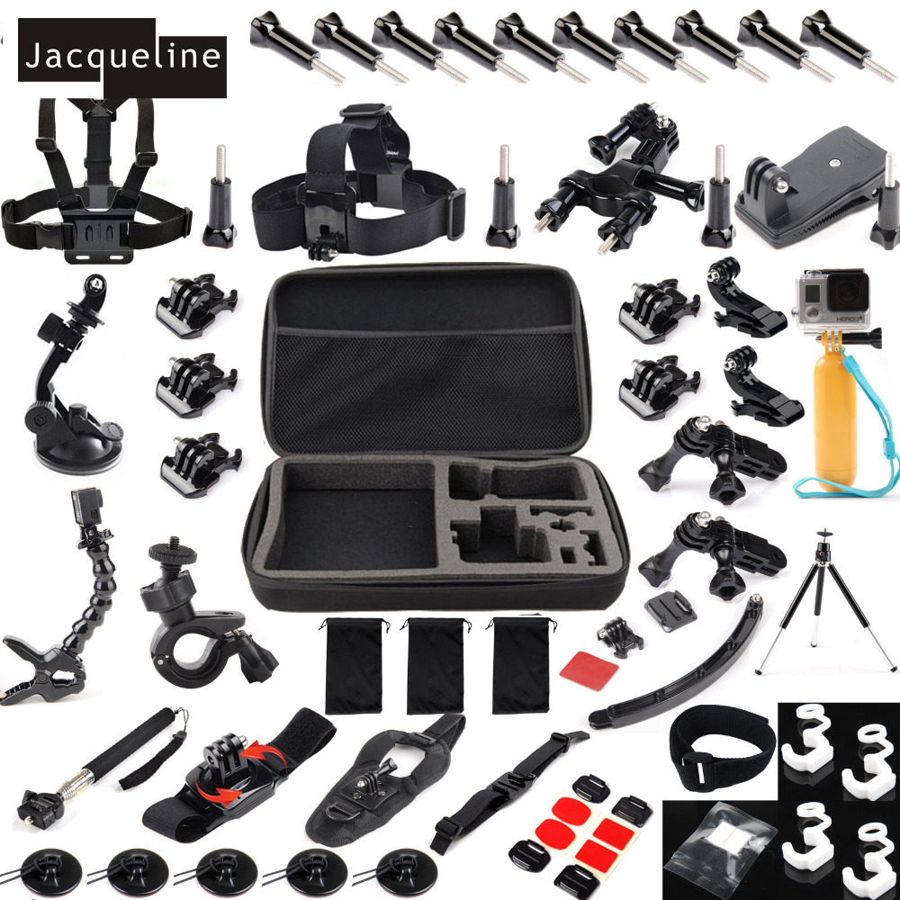 Jacqueline for Accessories Sets Kit For GoPro hero 5 2 3 4 Session/SJCAM SJ4000 SJ5000 SJ6000/EKEN H9R H9 SOOCOO/Tripod Monopod gopro 4 session sjcam xiao yi sj4000 kit accessories collection storage bag case with monopod strap for sports camera