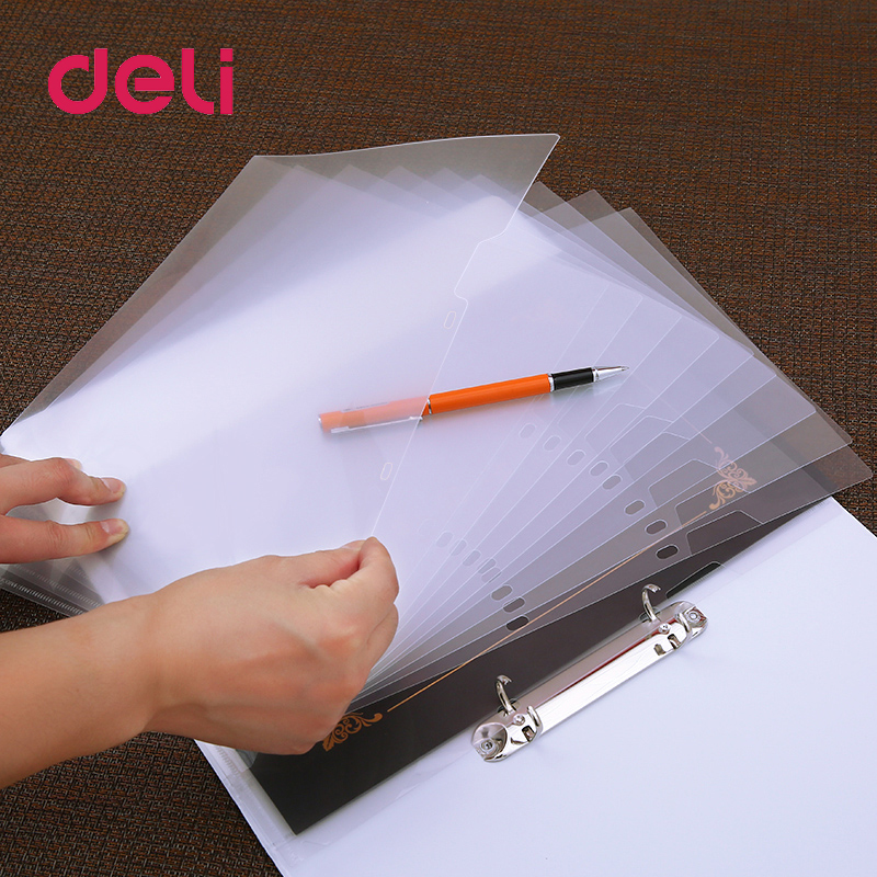Deli Two-hole File Holder Set A4 Transparent Two-page Folder Office Data Certificate Single-page Clip Loose-leaf Bag Storage