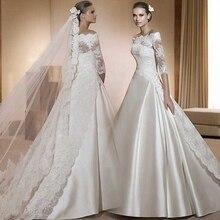 2016 Elegant A Line Off the Shoulder Satin Tulle Lace Top Half Sleeves Wedding Dresses contrast lace open the shoulder top