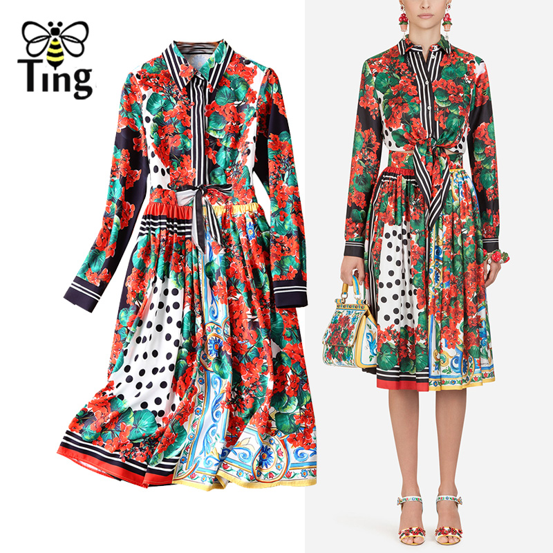 e95dccb76d7a Tingfly 2019 New Fashion Designer Runway Style Dress Women Floral Print  Shirt Blouse+Pleated Floral