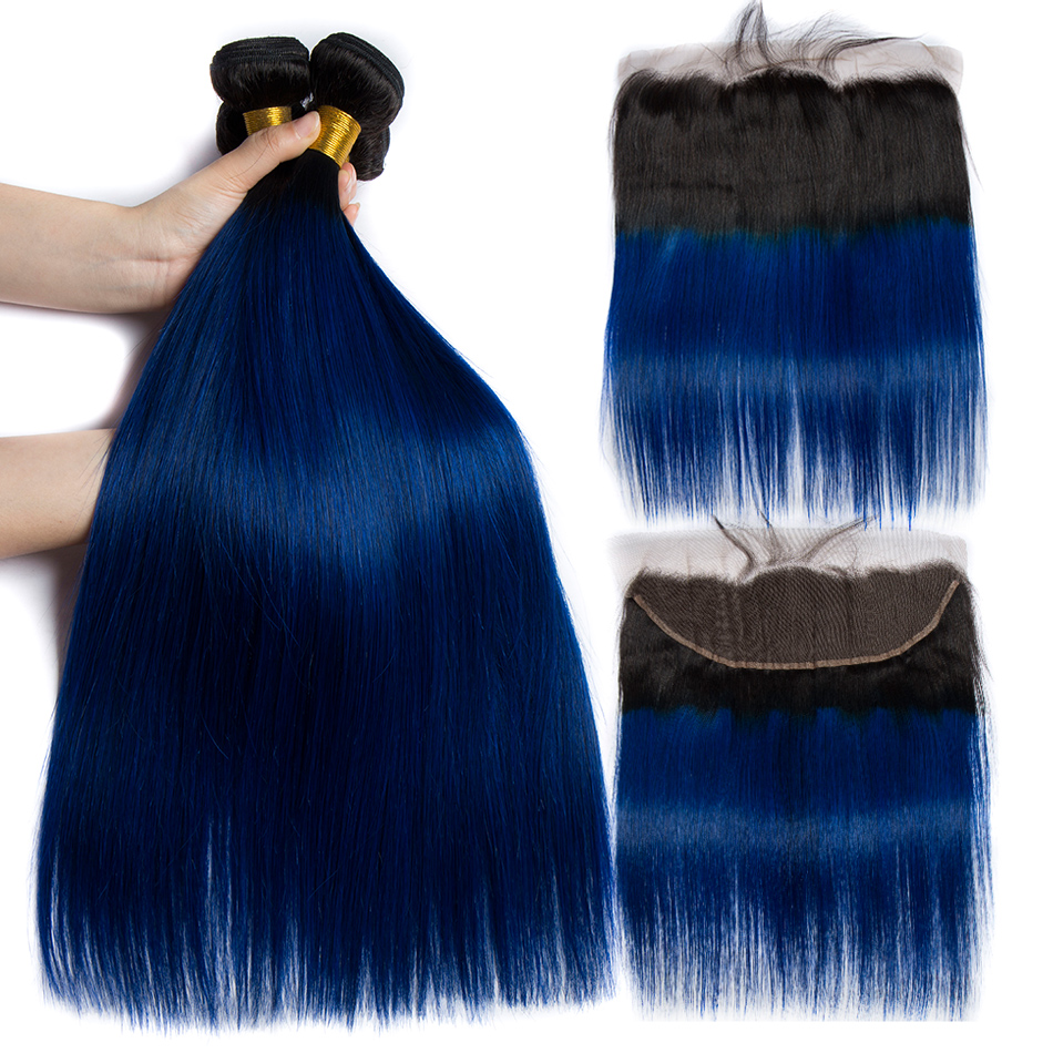 ALIBELE Ombre Human Hair Bundles With Frontal Closure 1B Blue Peruvian Straight Remy Hair 13x4 Pre