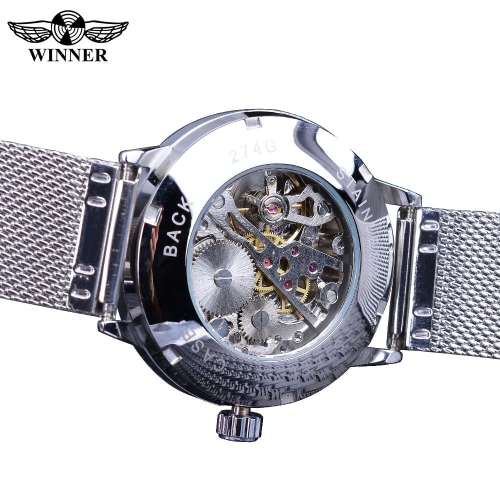 Winner 2019 Fashion Blue Display Silver Mesh Belt Transparent Dial Men's Mechanical Wristwatches Top Brand Luxury Waterproof 4