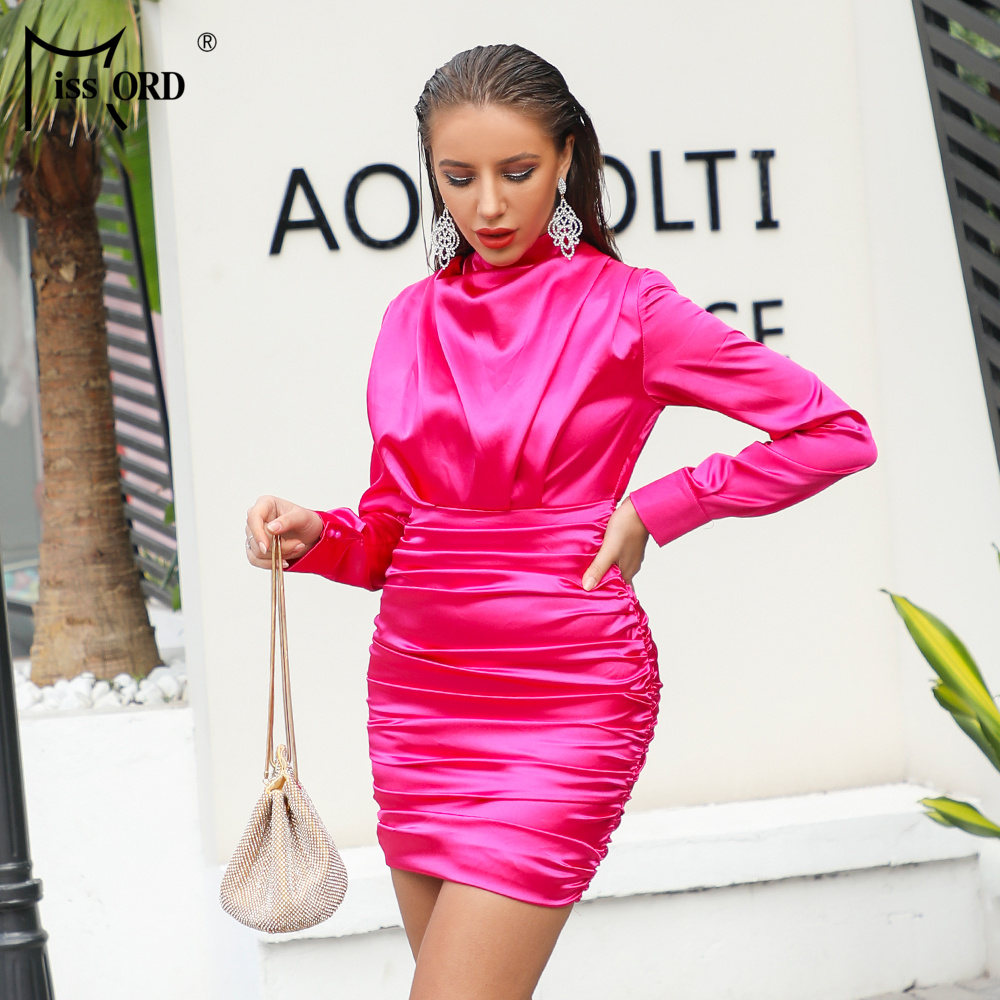 Missord 2019 Women Sexy High Neck Long Sleeve Solid Color Dresses Female Elegant Mini Bodycon Party Dress  FT18775-1