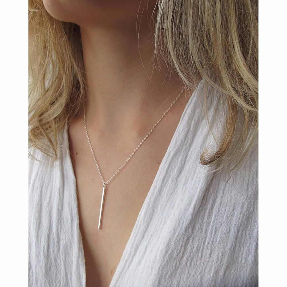 15624f3ca1c2 E-Manco línea aguja de Plata de Ley 925 colgante collar largo Simple y  estilo