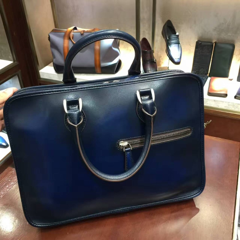 TERSE 2017 Hot sale leather briefcase handmade top genuine leather tote bag  3 colors in stock vintage style mens handbag custom 5914bc7def277