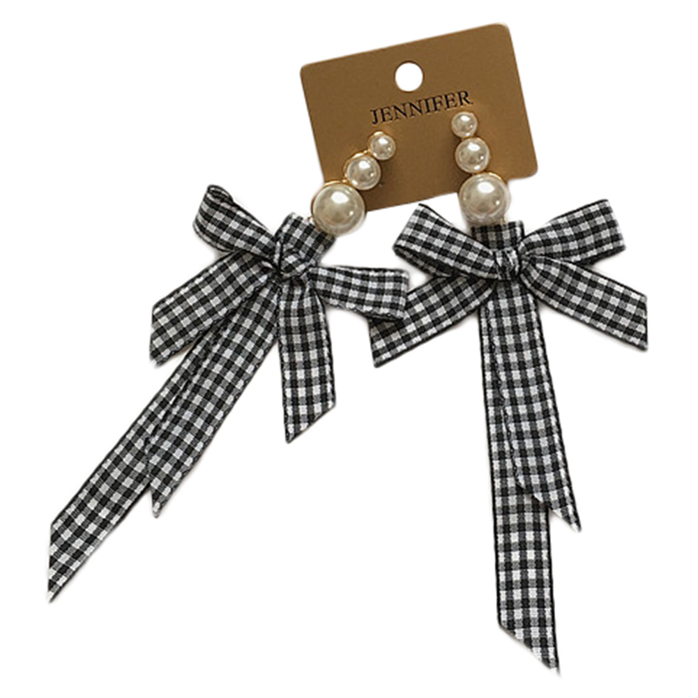 Модные украшения решетки ткань ленты лук серьги личности имитация жемчуг очарование заявление серьги Boucles DOreille подарок