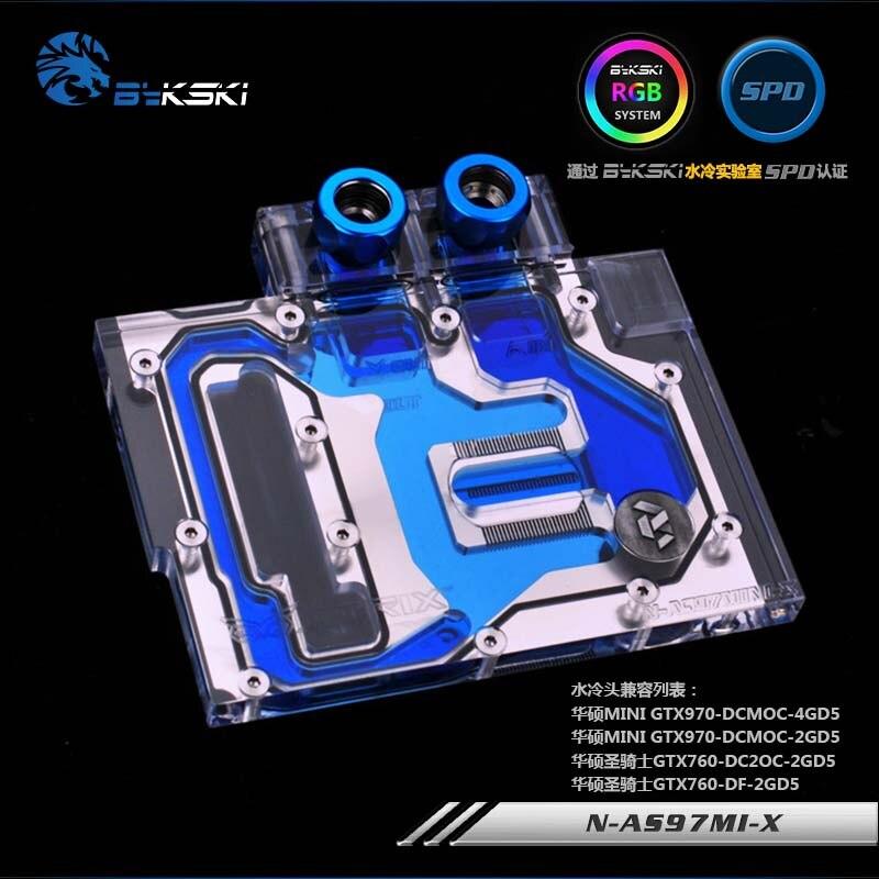Bykski GPU bloc d'eau pour ASUS MINI GTX 970-DCMOC/GTX760 couverture complète carte graphique refroidisseur d'eau