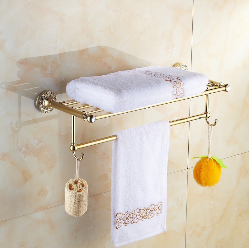 Bathroom golden bath towel towel rack bathroom for Rack for bathroom accessories