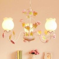 Estilo pastoral coreano ferro forjado luz pingente rosa rosa flor quarto sala de jantar pendurado iluminação da lâmpada