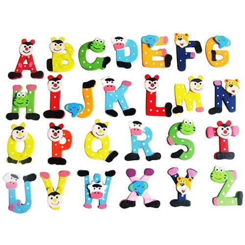 2015 Hot Selling26x Alphabet Animal Wooden Fridge Magnet Educational Study Toy for Children Kids  63L8