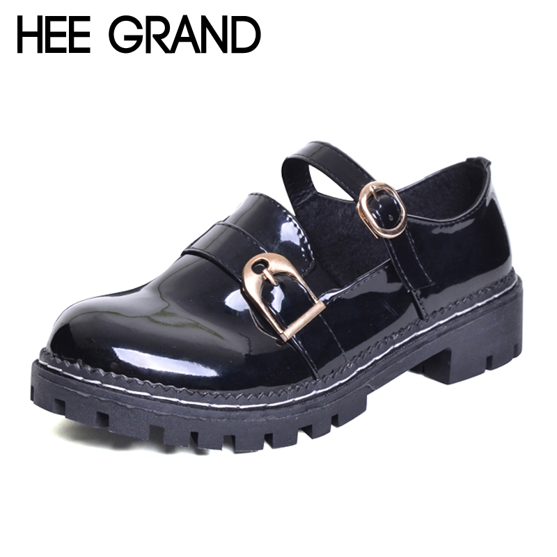 HEE GRAND Solid Patent Leather Women Oxfords British New Fashion Platform Flats Casual Buckle Strap Ladies Shoes Woman XWD5833 hee grand pointed toe pumps british style med heels patchwork t strap oxfords shoes woman casual vintage pump shoes xwd2469