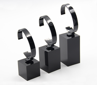3pcs/set Acrylic Watch Display Block C Ring Holder Black Watch Stand With Square Base