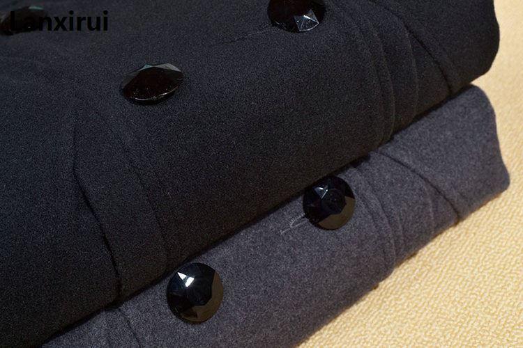 Nouvelle Hiver col de fourrure manteau en laine Laine Coupe-Vent Femmes manteau de cachemire veste d'hiver femmes Femme Plus - 6