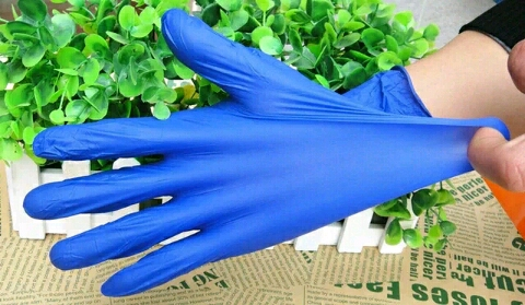 Grade A dark blue disposable latex gloves nitrile labor disposable gloves blue latex gloves check protective work gloves labor insurance rubber gloves free shipping