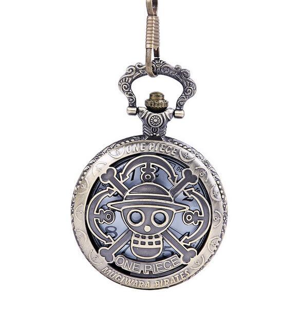 Steampunk Skull One Piece Pocket Watch Cartoon Anime Watch One Piece Pocket Watch Quartz Movement Fob Watches Gift
