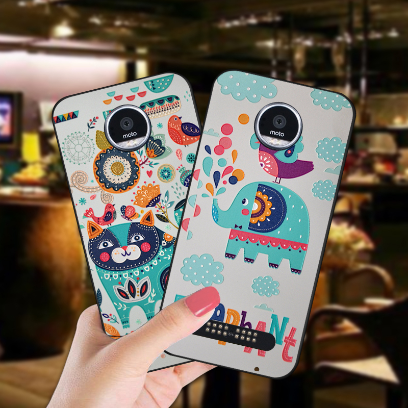 Cute Animal Soft Silicone Case For Motorola Moto Z Play / Force Anti-knock 360 Full Cover Bag For Moto Z2 play Phone Coque