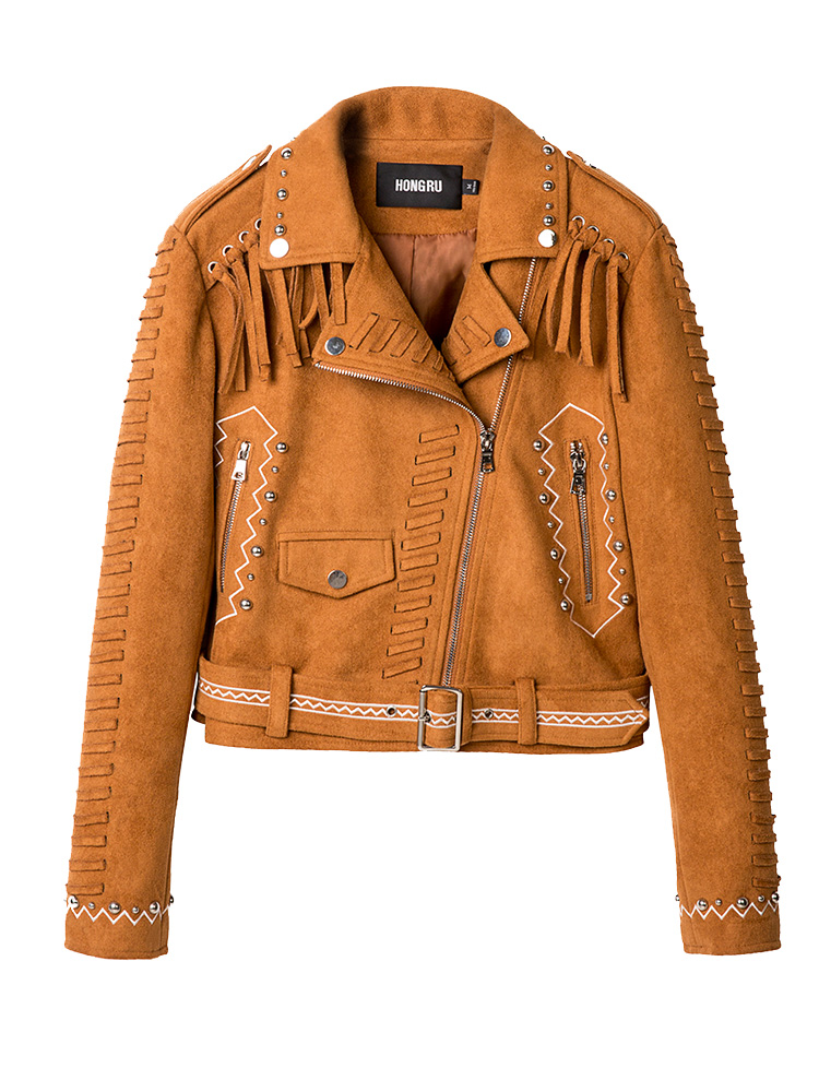 New 2018 Autumn Camel Leather Jacket Women Short Casual Suede Retro Fringed Rivets Punk Street Fashion Coat HR1015